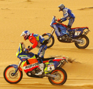 Nani Roma with Fabrizio Meoni at Dakar 2003