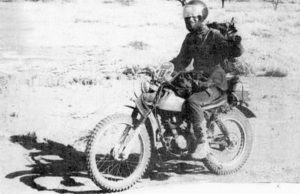 DAKAR 1979 Gregoire Verhaeghe arrives at the bottom of the first edition with his bike everyday, a Honda 125 XLS