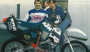 "DAKAR 1988 Michel Assis with its monumental KTM 125 ""Twin"""