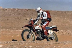 "Monsieur 125 "", Gerard Barbezant in his first participation in the 1985, on Honda XL 125"
