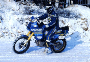 Snowy prologue for the Dakar caravan 1986