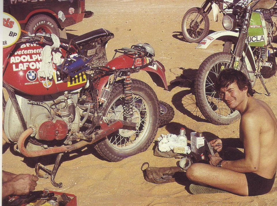 Fenouil and Herbert Scheck in a moment of rest of the Dakar 1983